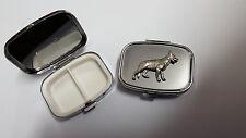 German Shepard PP-D09 English Pewter on a Emblem Rectangular Metal Pill Box