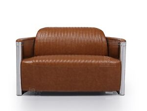 Details about 2 Seater Sofa Industrial Aviation Vintage Tan Brown PU/Bicast  Leather