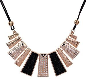 Chain Pendant Crystal Choker Chunky bib Statement Necklace women Fashion Jewelry