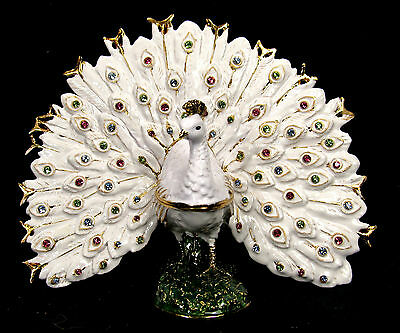 White Peacock Jeweled Pewter Trinket or Jewelry Box Wildlife