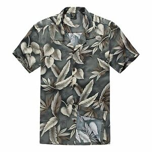 Men-Hawaiian-Shirt-Cruise-Tropical-Luau-Beach-Aloha-Party-Green-Feather-Leaf