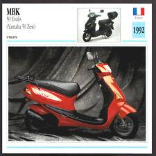 1992 MBK 50cc Evolis (Yamaha 50 Zest) Scooter Motorcycle Photo Spec Sheet Card