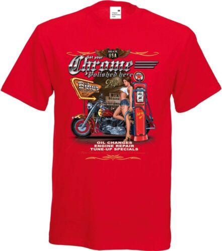 T Shirt im Rotton mit einem Biker-/&Old Schooldruck Modell  Chrome Polished Here