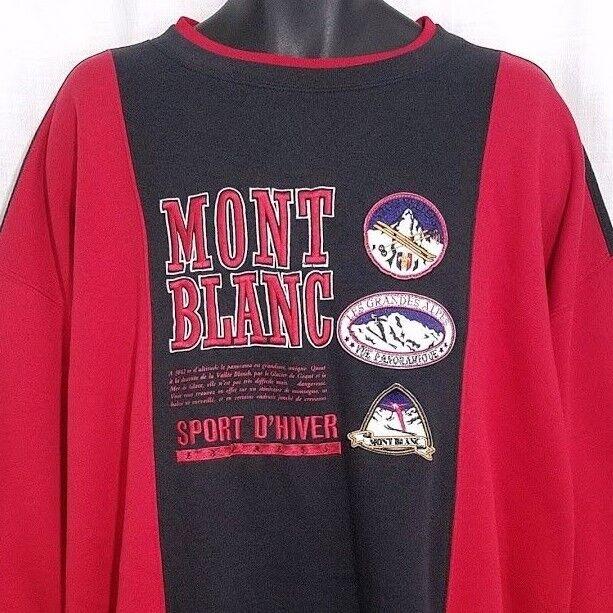 Mont Blanc Ski Sweatshirt Vtg 80s Les Grandes Alpes Trois Vallees Winter Größe XL