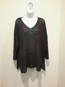 OSKA-Womens-Knit-Crochet-Shirt-blouse-top-Comfort-2-linen-blend-Brown