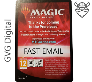 MTGA Ikoria Prerelease Magic Arena 6 Boosters FAST Code EMAIL 1//act