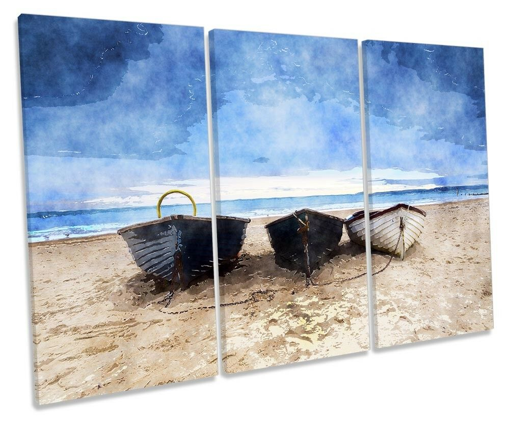 Boats plage Seascape TREBLE toile WALL ARTWORK Print Art