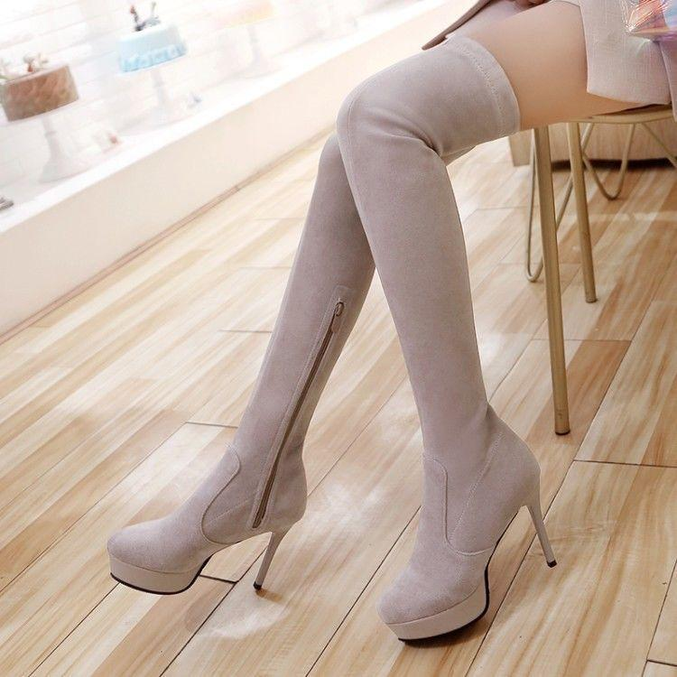 Womens Faux Suede Over Knee Thigh High Heels X1 Stretch Boots shoes Sexy
