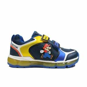 Geox Android J1644A Royal/Yellow Super Mario Childrens Light Up Trainers