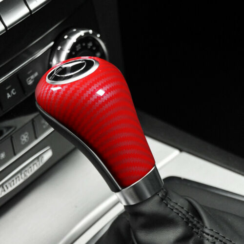 1X Black Red ABS Carbon fiber Auto car Gear Shift stickers For Mercedes w204w212