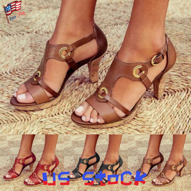 Summer Womens High Heels Peep Toes Ladies T-Strap Sandals Vintage Shoes Party US