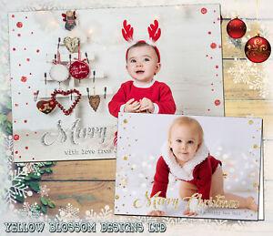 10-Personalised-Photo-Christmas-Cards-Xmas-Flat-Folded-Children-Kids-Thank-You