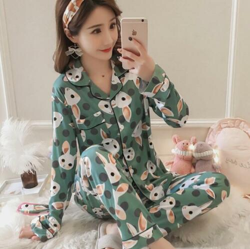 Green Woman Long Sleeve Rabbit Nightgown Sleepwear Nightwear Pajamas Pyjamas Set