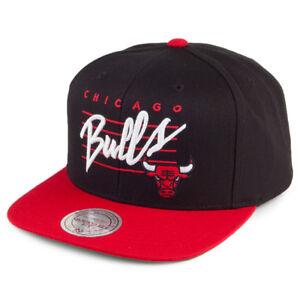 Chicago Bulls Mitchell & Ness Black Retro Script Wool Snapback Hat Cap NBA