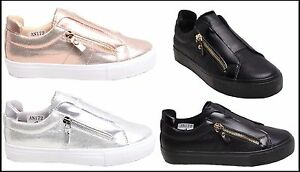 LADIES WOMENS SHINY ZIP SNEAKERS CASUAL FLAT TRAINERS PUMPS SHOES COOL TRENDY UK