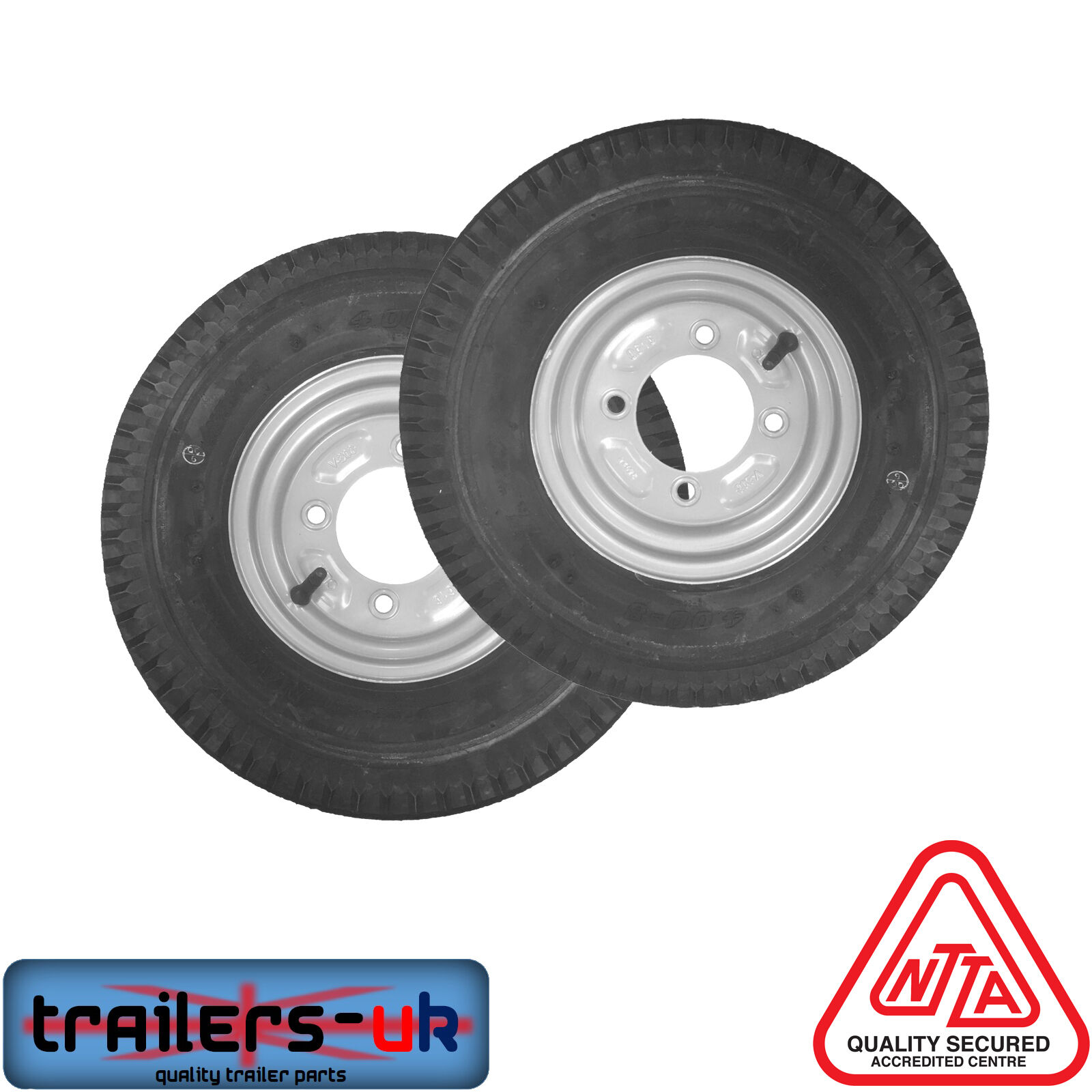 2 x Trailer Wheels and Tyres 400x8