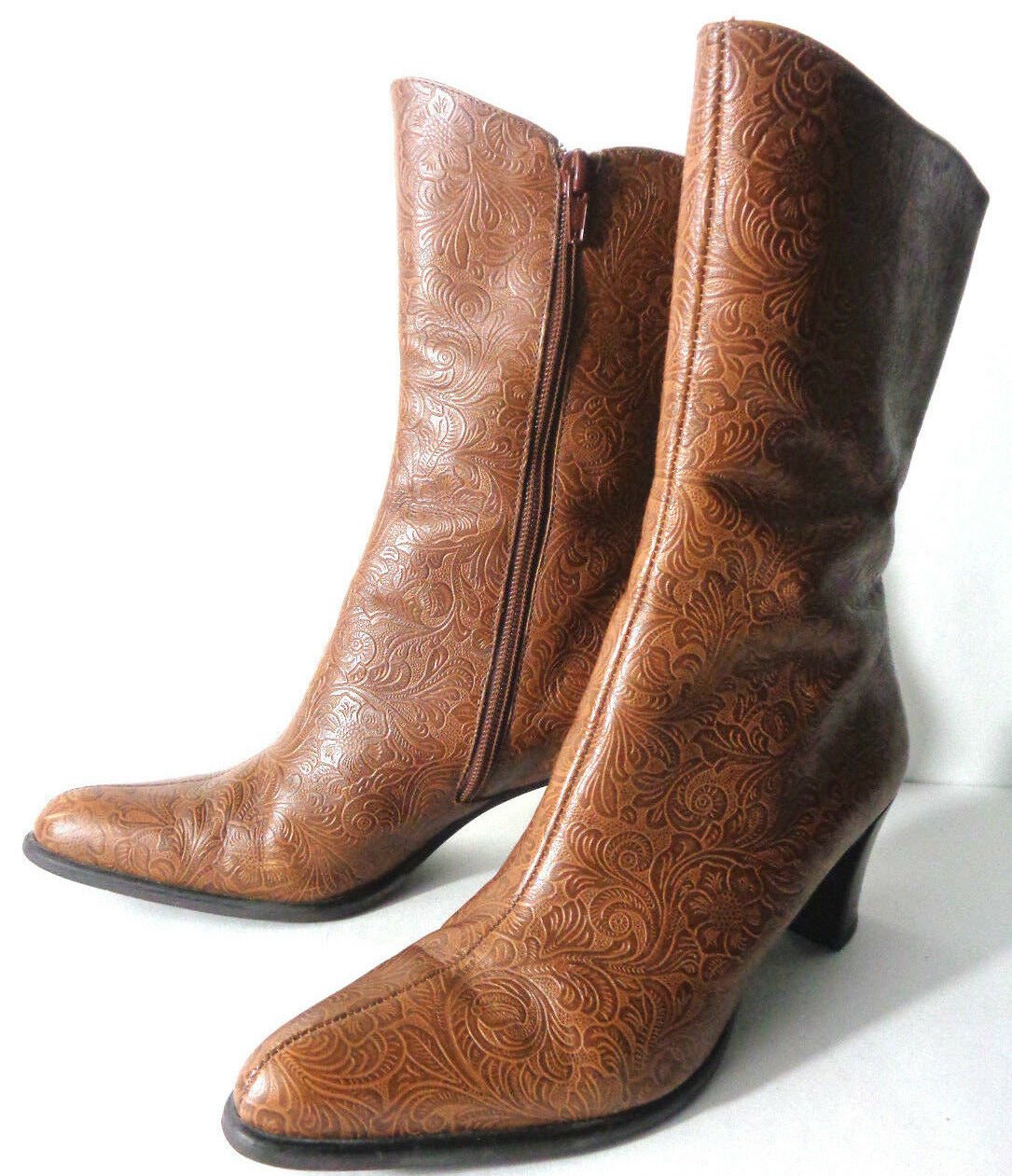 A. MARTINELLI Archer US 6.5M Brown 'tooled' Leather Zip Ankle Boots Medium Heel