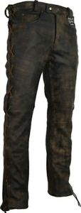 Lederhose-an-den-seiten-geschnuert-in-braun-Bikerjeans-Lederjeans-Rockerhose