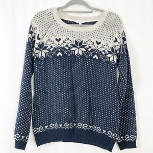 Fat-Face-Blue-amp-White-Nordic-Fair-Isle-Knitted-Jumper-Cotton-Wool-Mix-UK-12