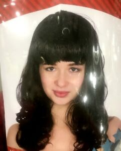 Women-039-s-Black-Wave-Hair-w-Fringe-Wig-80s-90s-Party-Costume-Wig