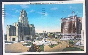 Vintage-Postcard-Niagara-Square-Buffalo-New-York-Postmark-1938-C44