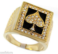 Mens Ace Of Spades Poker 18kt Gold Plated Ring