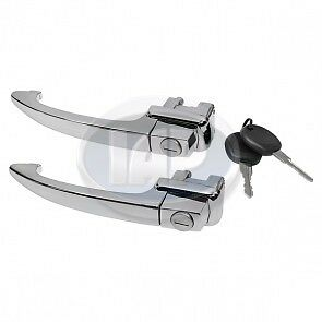 VW BUG TYPE 1 OUTER DOOR HANDLE PAIR MATCHED SET 1964-1966  113898205D