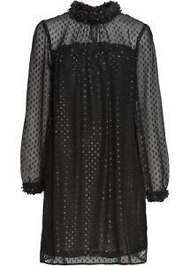 Chiffon-Kleid m Blütenverzierung Gr. 42 Schwarz Minikleid ...