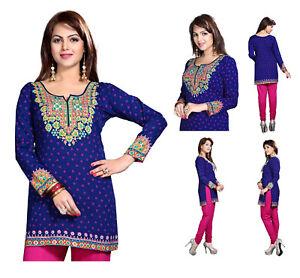 UK-STOCK-Women-Fashion-Indian-Short-Kurti-Tunic-Kurta-Top-Shirt-Dress-127A
