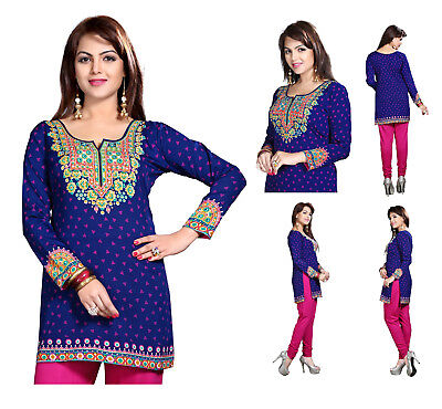 Women Top Indian Short Kurti Tunic Kurta Cotton Printed Blue Shirt Dress MM192