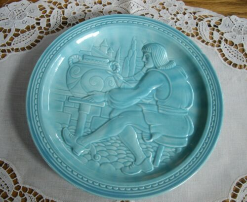 """Vintage 1939 NY World/'s Fair American Potter TURQUOISE 7/"""" PLATE ~"""