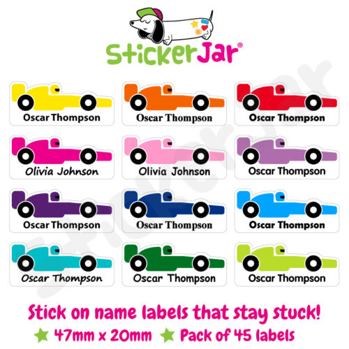 45 Personalised Stick On Name Labels Stickers School Kids Racing Car F1 NL13