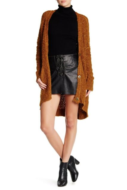 9ddd129489 Free People Genuine Buff Leather Front Lace-Up Skirt Black F16R01102 $168  NWT