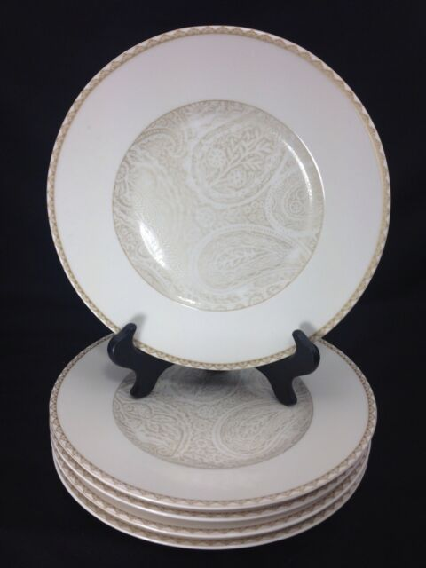 KAY UNGER Shimmer Paisley SALAD PLATES Paisley Tan SET OF 5 & Kay Unger Shimmer Paisley Dinner Plates Tan u0026 White Paisley Flowers ...