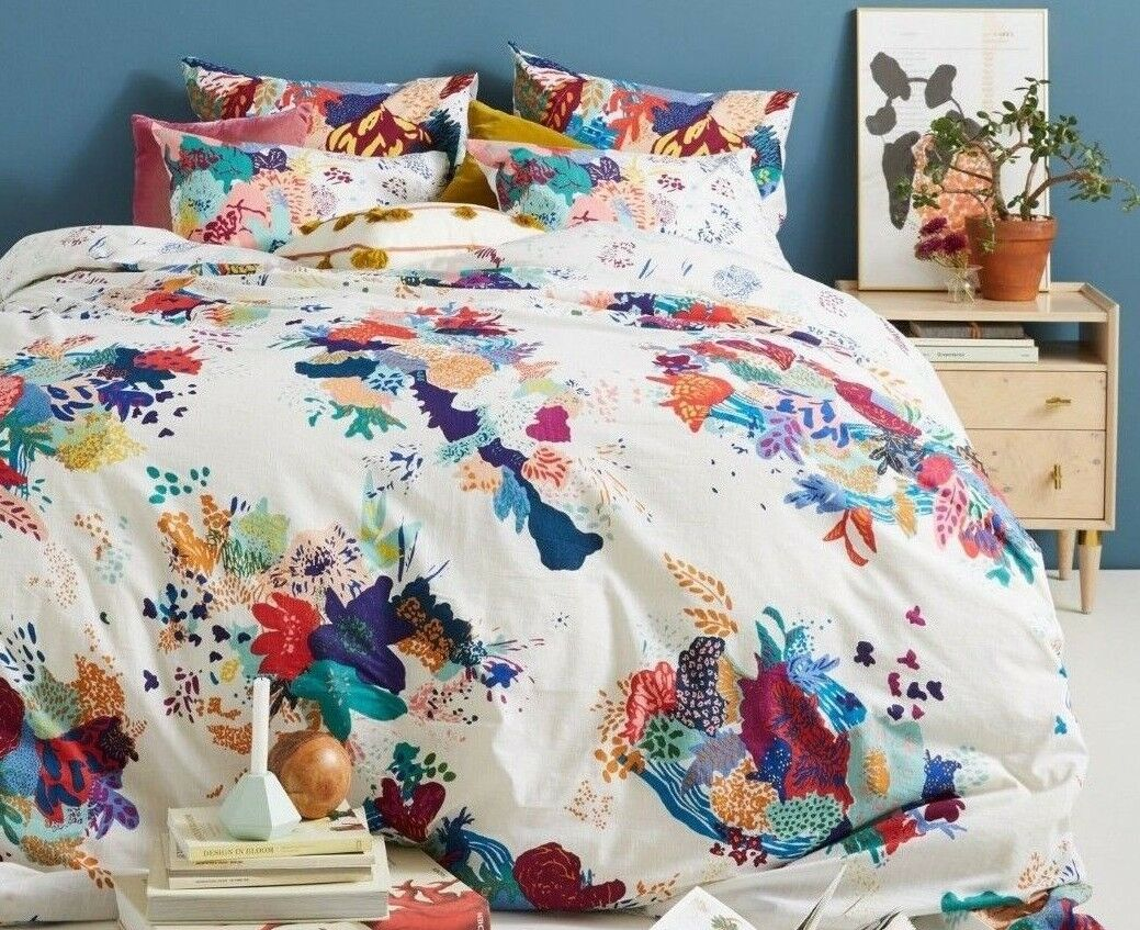 Anthropologie QUEEN Duvet Set 2 EURO Shams Del Rey Bedding Ocean Beach Nautical