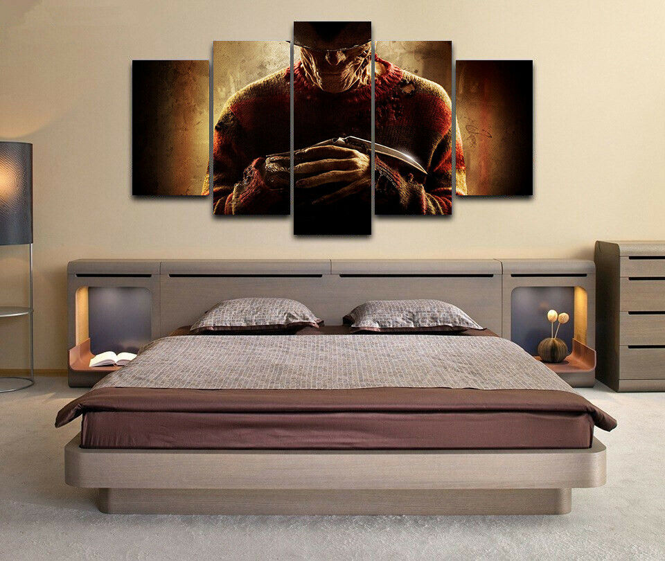 Framed Nightmare On Elm Street Frotdy Horror 5 Piece Canvas Print Wall Art Decor