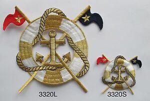 Xl s gold anchor life buoy flag marine nautical embroidery