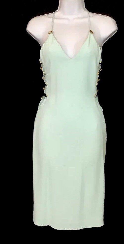 Cushnie Et Ochs Dress Mint Halter Style gold Buttons Buttons Buttons On Open Sides  Size 0 b46181