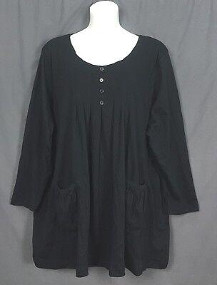 plus size ROAMANS pleated smock pocket BOHO babydoll TUNIC 5X 38 40 black w2
