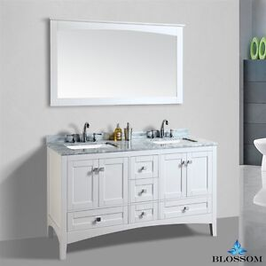 Blossom   Dubai Double Sink Bathroom Vanity With Marble Top White