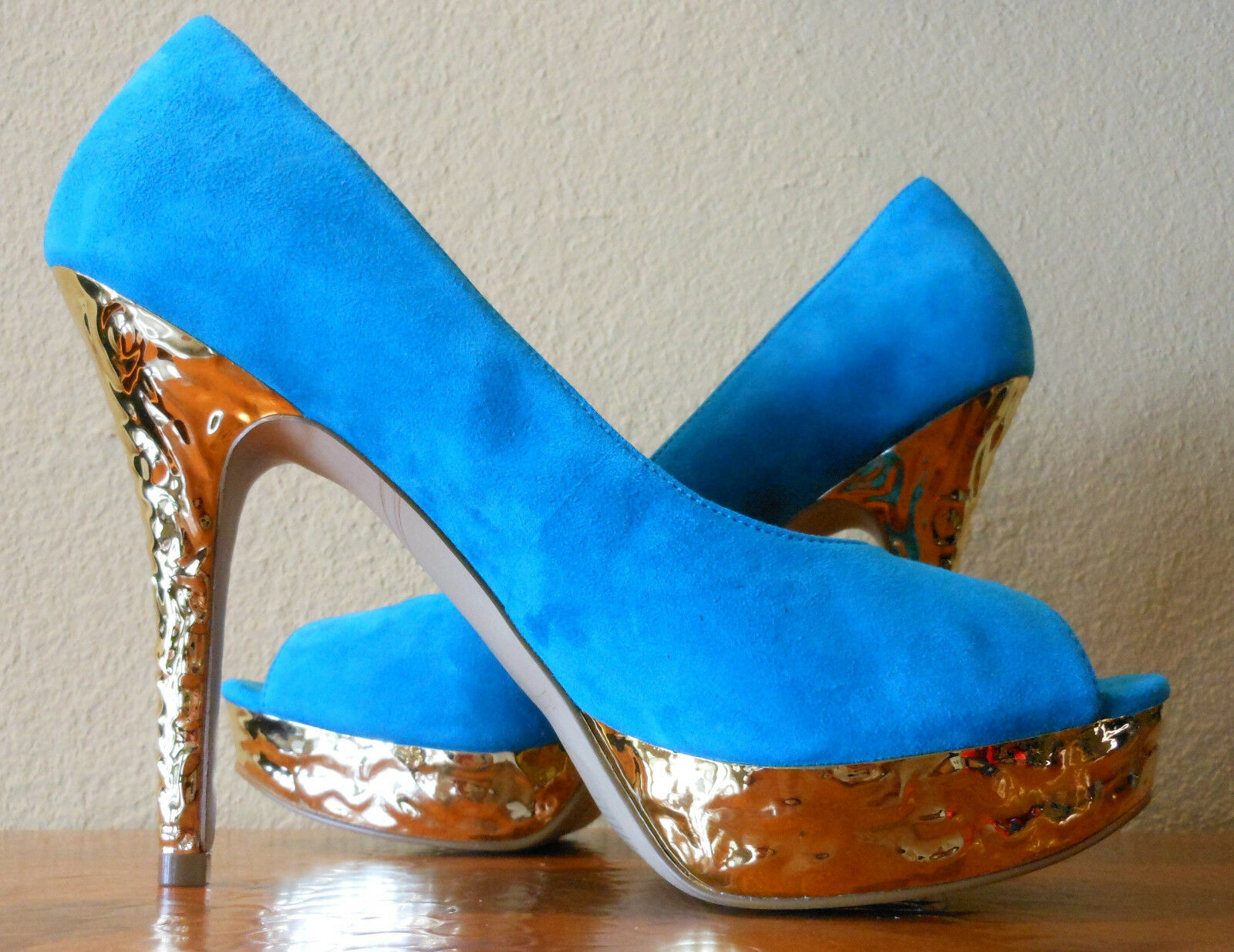 Enzo Angiolini Peep Toe Pump EASully Gold Platform & Heel Turquoise 7.5 SEXY