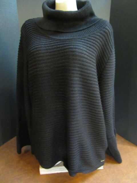 18d05ec474 NWT Calvin Klein Black Knit Cowl Neck Pullover Bell Sleeve Sweater Top Size  S