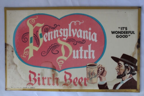 1955 PENNSYLVANIA DUTCH ADVERTISING CELLULOID OVER CARDBOARD BEER SIGN