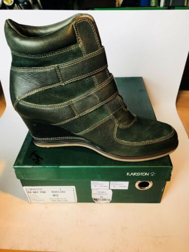 Femme Cuir Fonce Taille 40 Neuve Kuclou Verte Chaussures N°364 Karston HwnvqxHd