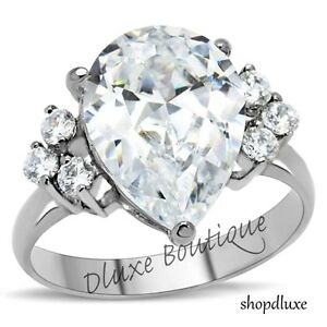 5-60-Ct-Pear-Shape-AAA-CZ-Stainless-Steel-Engagement-Ring-Band-Women-039-s-Size-5-10