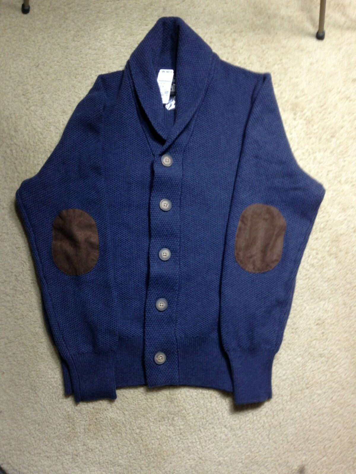 New Jos A Bank Mens bluee Cardigan Sweater with Leather Elbow Patches Medium
