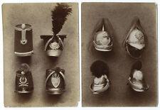 Lot de 5 photo militaire / casques II empire et III rep. Shako hussard vers 1890