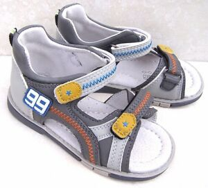 NEW BOYS LEATHER LINED CAP TOES GREY SPORTS SANDALS HOLIDAY SUMMER SHOES UK