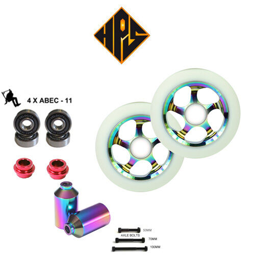 PRO STUNT SCOOTER SET 100mm NEO CHROME METAL CORE WHEELS ABEC 11 BEARINGS PEGS