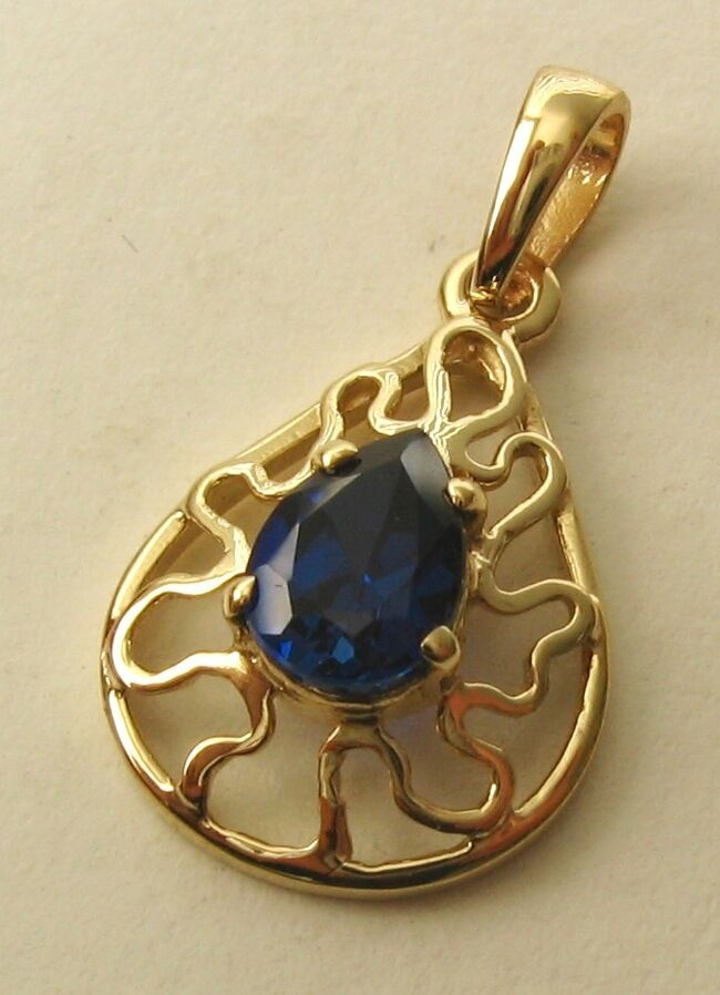 GENUINE SOLID  9K 9ct YELLOW gold  SAPPHIRE  Pendant